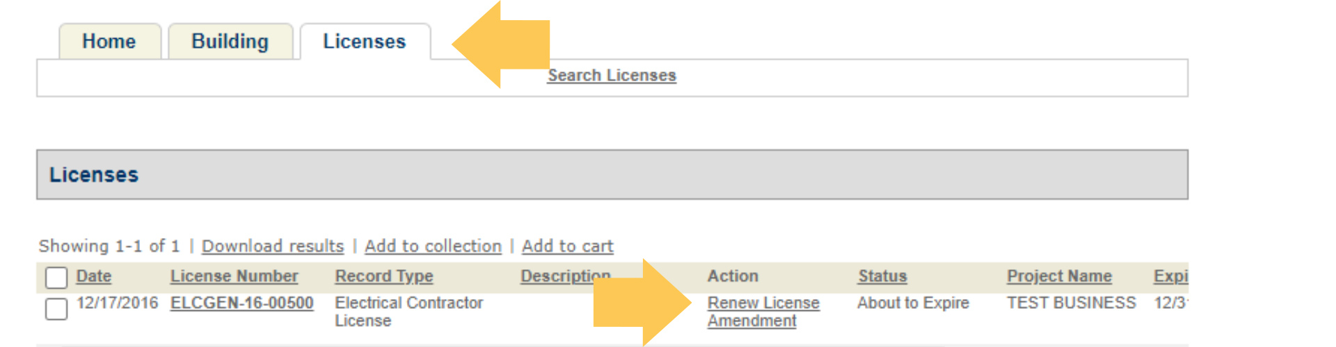 Toledo.oh.gov/permits screen shot of license renewal process